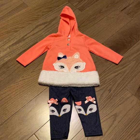 Baby 12 mo. Fox 2pc set- pink hoodie& blue pant